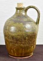 Meaders Pottery Brown Jug with Cork Southern Folk Art Signed Welchel Meaders