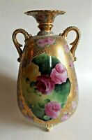 Beautiful Nippon Moriage Vase Urn with Pink Cabbage Roses
