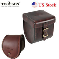 Tourbon Fly Fishing Reels Case Cover Protect Bag Storage Box Leather 2 Size USA