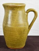 Meaders Pottery Brown Pitcher Southern Folk Art Signed Welchel Meaders