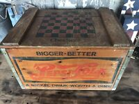 Vintage Pepsi Cola Wood Crate Checker Board Bigger Better Vintage Editions NC