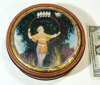 Antique vtg 1920s-30s Art Deco CANCO Maxfield Parrish style Candy Biscuit TIN