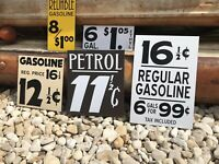 Antique Vintage Old Style Petrol Gas Oil Price Service Signs