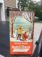 Vintage Golden Maple Syrup Gallon Tin Can, Great 50's Graphics, E Meredith, NY