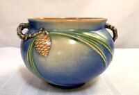 ROSEVILLE POTTERY, PINECONE, BLUE JARDINIERE, CRISP MOLD, STRONG COLOR, NICE~~~