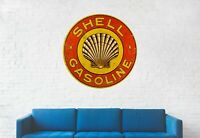Shell Gas circle wall decal sign sticker poster banner vintage Die cut
