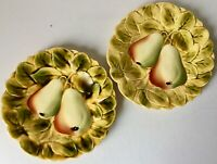 2 FRENCH SARREGUEMINES MAJOLICA FRUIT PLATES-PEARS