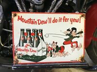 VINTAGE PORCELAIN 61 MOUNTAIN DEW SIGN Coca-Cola Pepsi 7-UP Dr. Pepper