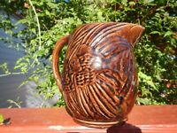 ANTIQUE 1935 MCCOY POTTERY ANGEL FISH STONEWARE PITCHER RAISED RELIEF SEAWEED