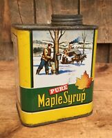 Vintage 1 Qt PURE Maple Syrup Tin Can Sugar Shack Country Store Display ME NH