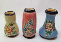 3 Art Deco Vintage Decore A La Main LONGWY FRANCE Faience Miniature Vases