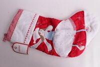 NWT Pottery Barn Kids Christmas Stocking quilted red Ice Skater light skin