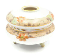 Antique Hand Painted NIPPON Porcelain Footed Hair Receiver or Trinket Box