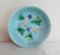 Majolica West Germany Birds & Grapes 6 Inch Fruit Berry Bowl Turquoise #230 Vtg