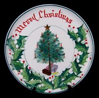 Merry Christmas Platter Tree Holly Large Round Tray Plate Hand Painted Italy 16