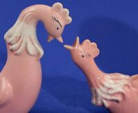 LARGE Flamingo PINK Stylized Pottery ROOSTER PLANTERS -Mid Century Modern Retro