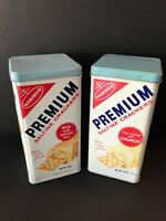 Lot Of 2 Different Vintage Nabisco Saltine Premium Crackers Tin Can