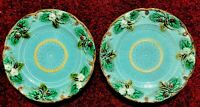 "Set Of 2 Antique French Majolica 8"" Plates by Sarreguemines Strawberry"