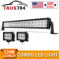 24inch 120W LED Light Bar Flood Spot Combo for Offroad SUV ATV 4WD + 2X18W pods
