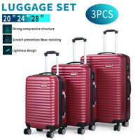 3 Piece Luggage Set Hardside ABSPC Carry On Bag Travel Trolley Suitcase Spinner