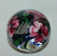 Signed Richard Olma 1998 Floral Art Glass Paperweight~Excellent Condition