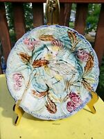 ANTIQUE FRENCH MAJOLICA PLATE DECOR BIRD OF PARADISE