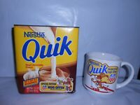 VTG NESTLE QUIK EMPTY 2 LB TIN CONTAINER & MUG US SKI TEAM WINTER OLYMPICS RARE