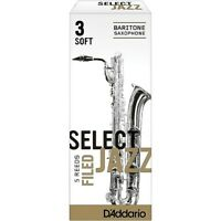 D'Addario Woodwinds Select Jazz Filed Baritone Sax Reeds Strngth 3 Soft Box of 5