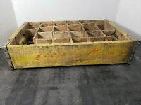 Vintage Coca-Cola Wooden Coke Yellow Soda Pop Crate Carrier Box case wood (15)