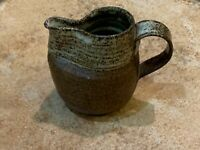 STUDIO ART SMALL BROWN POTTERY EWER PITCHER CREAMER UNIQUE ABSTRACT SPOUT HANDLE