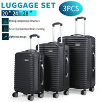 3 Piece Luggage Set Trolley Travel Suitcase Nested Spinner ABS+PC w Cover Black