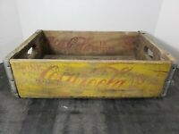 Vintage Coca-Cola Wooden Coke Yellow Soda Pop Crate Carrier Box case wood (23)