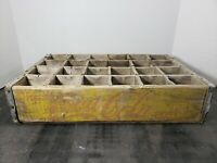 Vintage Coca-Cola Wooden Coke Yellow Soda Pop Crate Carrier Box case wood (25)