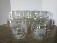 Vintage Nescafe Glass World Globe Coffee 14 Cups & Rare Cream & Sugar by Nestle
