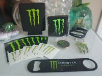 Monster Energy Lot Collectible Coin Keychain Wristband Koozie Sticker Tattoo New