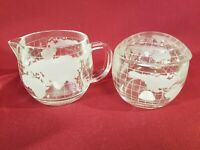 Nestle Globe Cream and Sugar Bowl with Lid Clear Glass Frosted World Vintage NEW