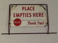 VINTAGE COCA COLA PLACE EMPTIES HERE METAL SIGN Coke soda antique bottle rack