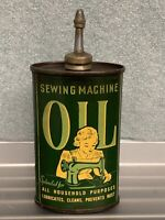 Vintage Sewing 3 Oz. Lubricating  Oil Tin Can Handy Oiler Lead Top