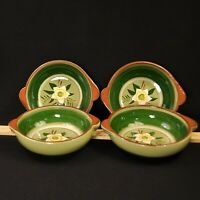 Stangl Star Flower 4 Lugged Soup Bowls 1952 White Yellow Hellebore Green Engobe