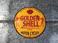 RUSTY GOLDEN SHELL MOTORCYCLE OIL PORCELAIN ENAMEL DOME SIGN PUMP PLATE GAS