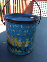 Vintage Toyland Peanut Butter Tin / Can w/ Lid - H.C. Derby New York