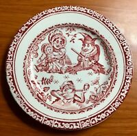 Staffordshire Childs Red PUNCH & JUDY Transferware Plate 1890 Frog Wizard