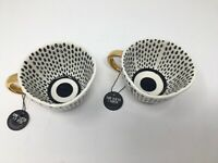 Old Pottery Company Black Dot Coffee Mugs with Gold Handle
