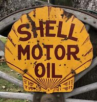 Antique 20s SHELL Motor Oil Gas Service Station 2 Sided Porcelain Sign 25x25