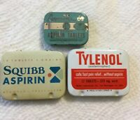 Collectible Vintage Lot Of 3 Asprin Tins Laymon's, Squibb, Tylenol, 12 And 6 Tab