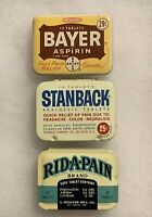 Collectible Lot Of 3 Bayer, Stanback, & Rid-A-Pain Vintage 12 Tablet Asprin Tins