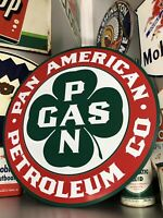 Antique Vintage Old Style Pan American Petro Pan Am Oil Gas Sign