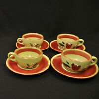 Stangl Magnolia Set of 4 Cups & Saucers 1955 Maroon Green White Yellow Engobe
