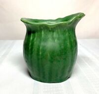 HAMPSHIRE POTTERY, MATTE GREEN EXPERIMENTAL PATTERN VASE, FERNS, OVAL TOP, NICE~