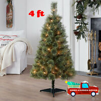 4 ft Prelit Conical Christmas Tree Ultra Realistic Branch Tips W/ Tree Stand